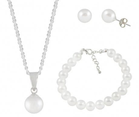 Zestaw kolczyki, bransoletka i łańcuszek z zawieszką Pearls White
