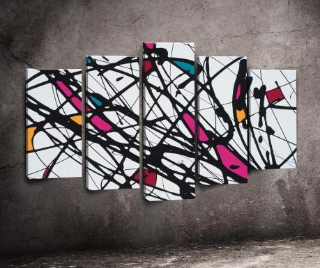 Комплект 5 картини Black Lines Colour Block