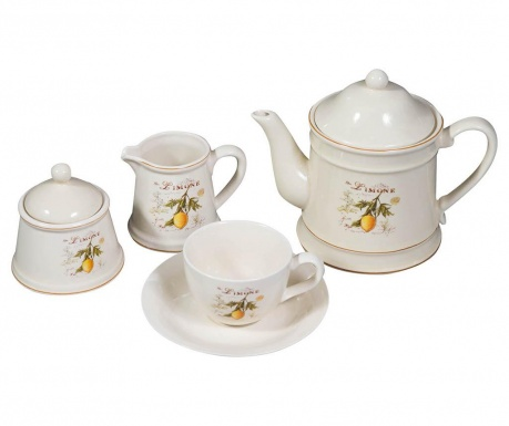 Set of 15 pieces for tea serving and holder Lemone