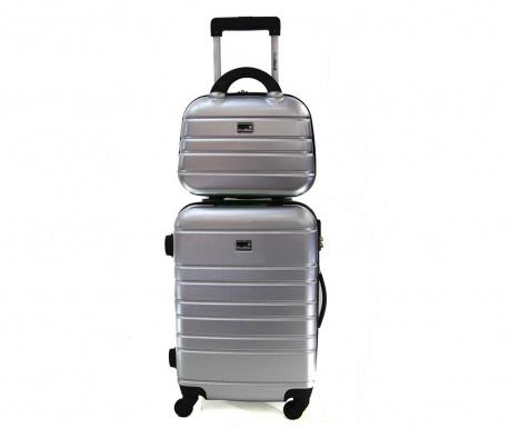 Manhattan Silver Gurulós bőrönd és kozmetikai táska