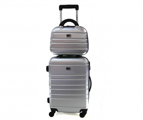 Set troler si geanta pentru cosmetice Manhattan Silver