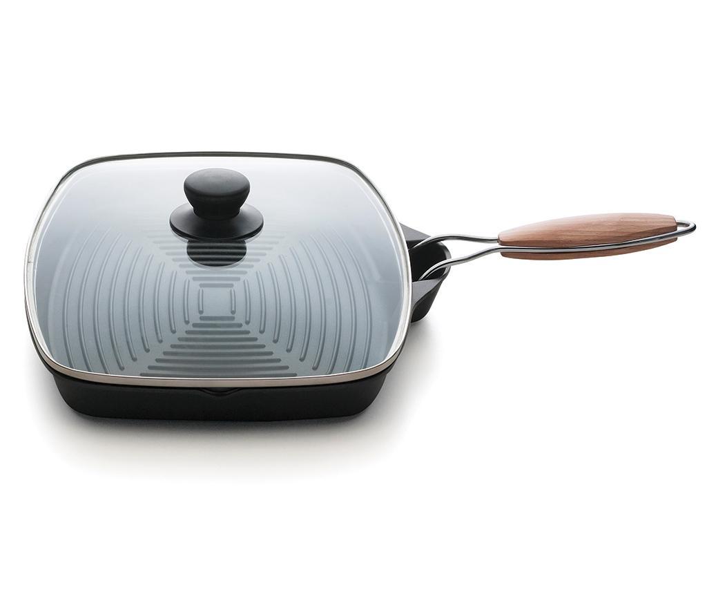 Tigaie grill cu capac Grigliosa 25x35 cm - Excelsa, Negru