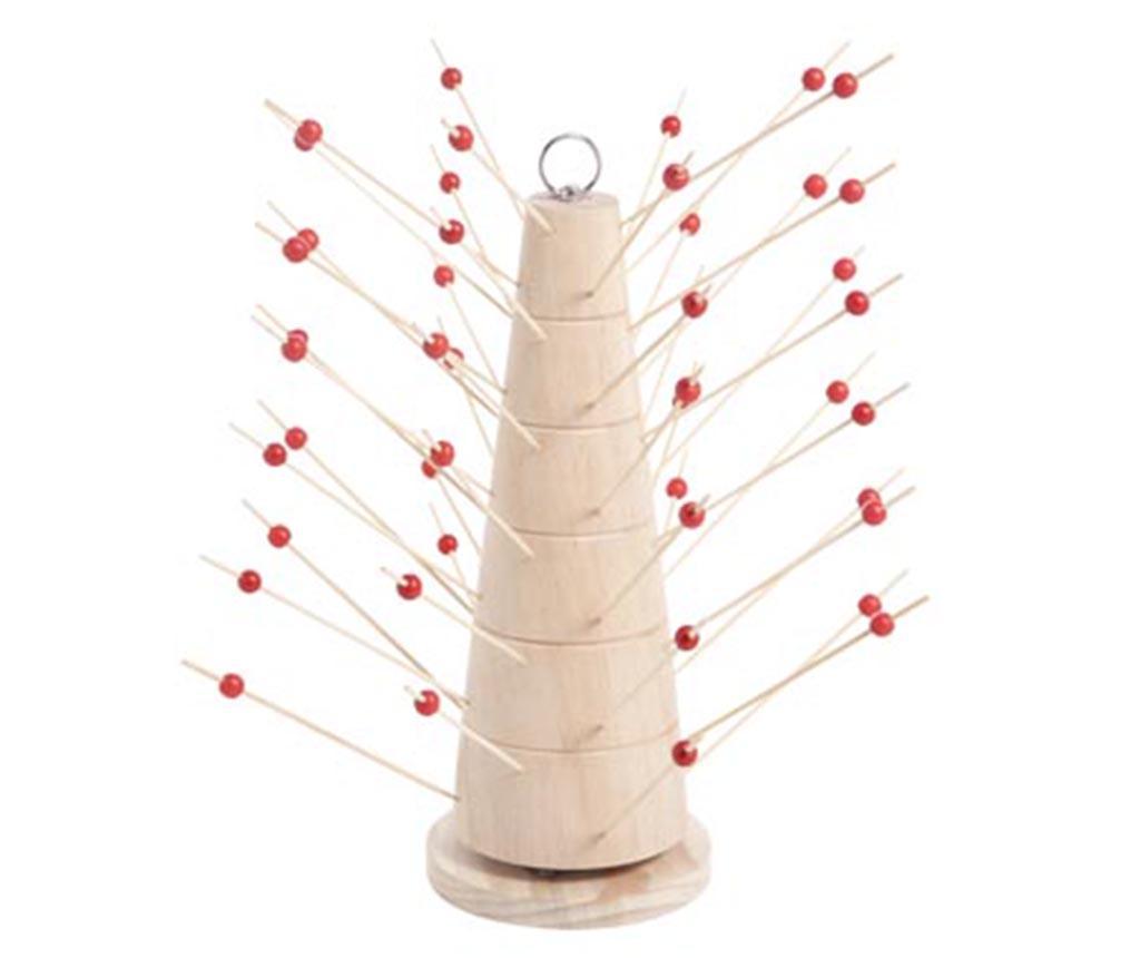 Set 45 betisoare pentru aperitive si suport Tower - Cosy & Trendy, Rosu