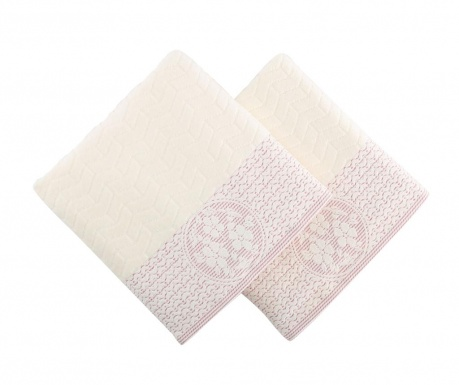 Set 2 prosoape de baie Armada Cream and Fuchsia 50x90 cm