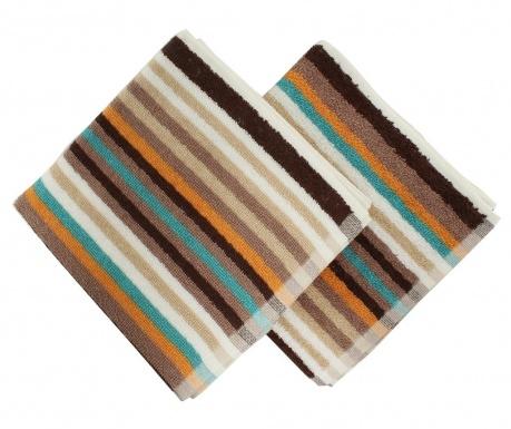 Zestaw 2 ręczników kąpielowych Stripes Brown 40x80 cm