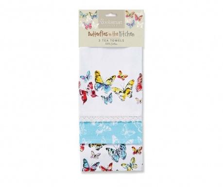 Set 3 prosoape de bucatarie Butterflies 45x65 cm