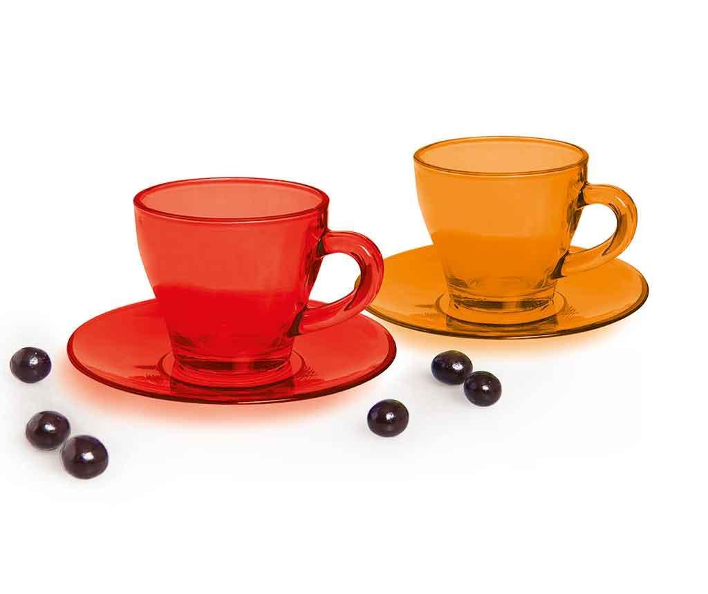 Set 6 cesti si 6 farfurioare pentru cafea Grace - Excelsa, Portocaliu