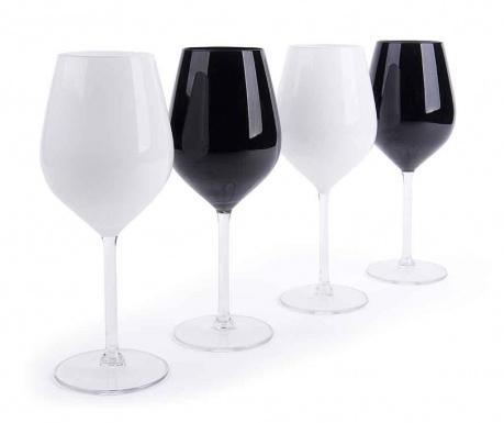 Sada 4 pohárov na víno Black & White 500 ml