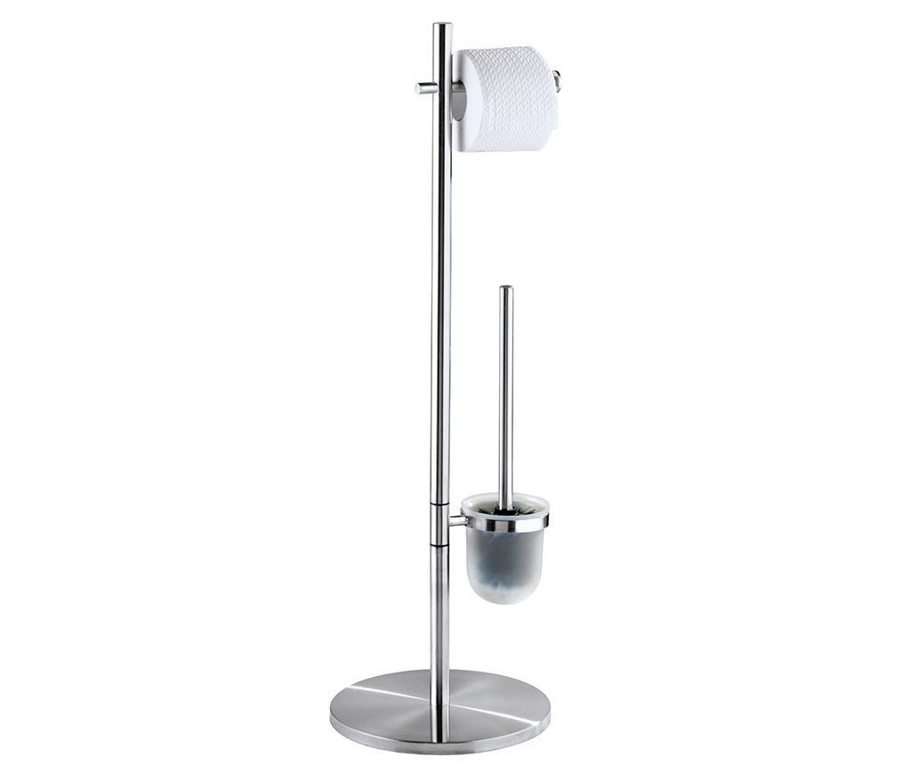 Suport pentru hartie igienica si perie de toaleta Pieno - Wenko, Gri & Argintiu