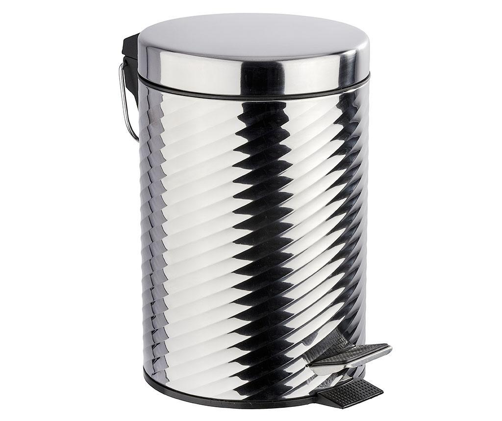 Cos de gunoi cu capac si pedala Spiro Shine 3 L - Wenko, Gri & Argintiu