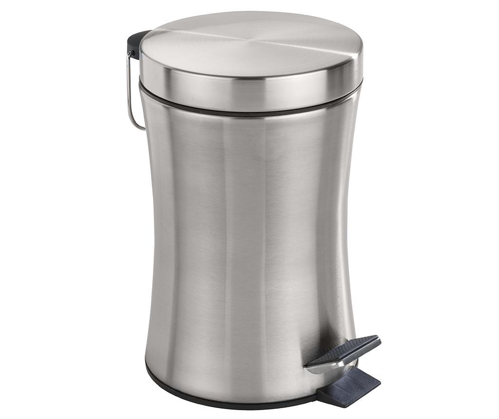 Cos de gunoi cu capac si pedala Pieno 3 L - Wenko, Gri & Argintiu