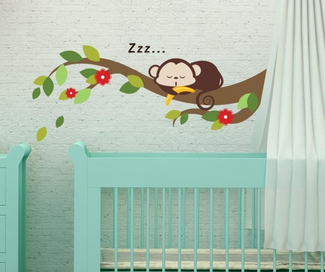 Nalepka Sleeping Monkey on Branch