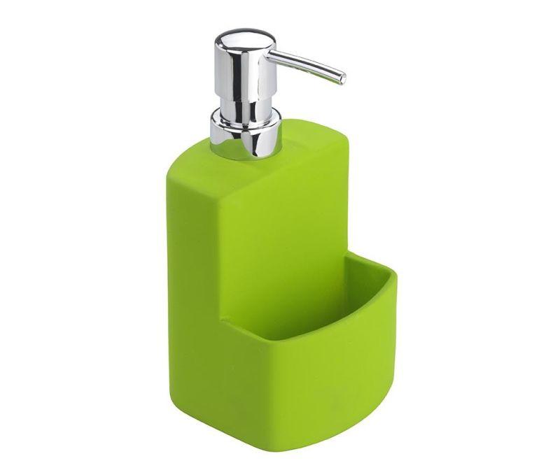 Диспенсър за течен сапун с поставка за гъбичка Festival Green 380 мл
