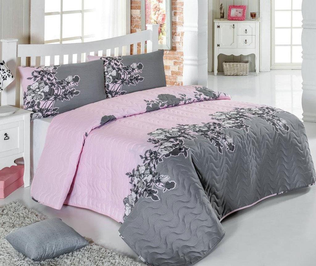 Set Cuvertura Matlasata Single Rodez Powder - Eponj Home, Gri & Argintiu,roz