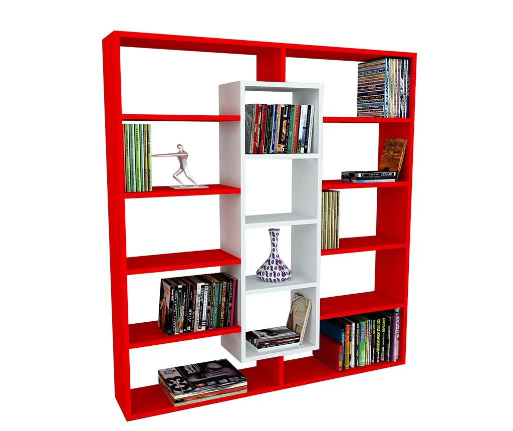 Corp biblioteca Layers White Red - Wooden Art, Rosu