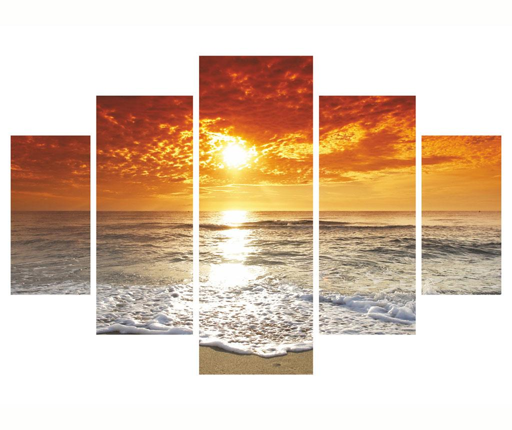 Set 5 tablouri Sunset - Miracle, Rosu
