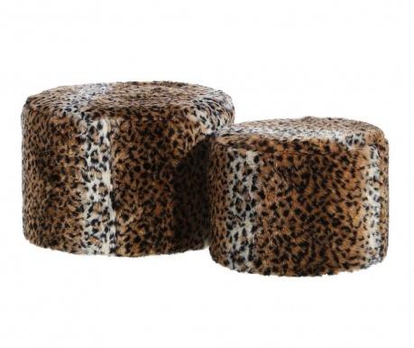 Zestaw taboret i podnóżek Leopard Fluff