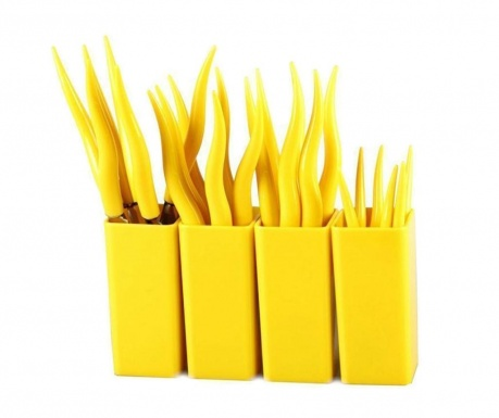 24-delni jedilni pribor in 4 držala Tullio Yellow
