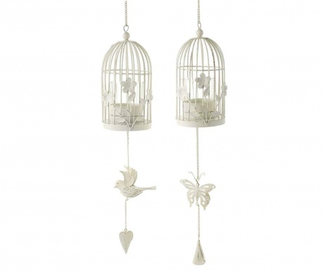 Set of 2 suspended candle holders Birdcage