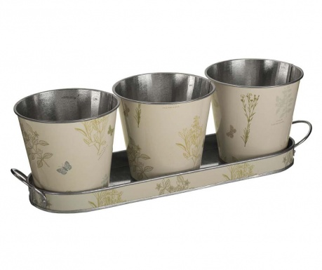 Set of 3 flower pots with holder Oblong