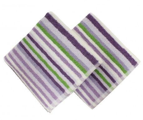 Zestaw 2 ręczników kąpielowych Stripes Lilac 40x80 cm