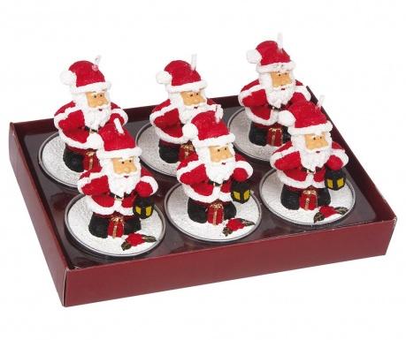 Zestaw 6 świeczek Santa Claus