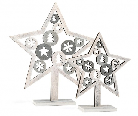 Set 2 decoratiuni Silver Star