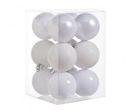 Σετ 12 διακοσμητικές μπάλες Pearl White Glitter