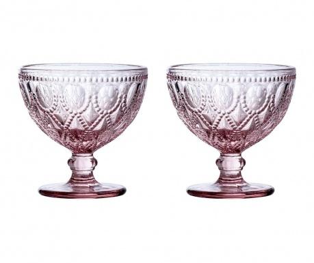 Zestaw 2 pucharków deserowych Fleur Pink 250 ml