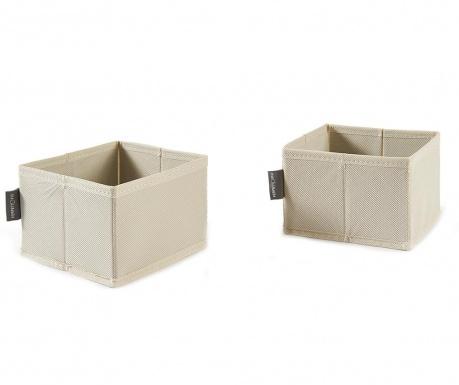 Set 2 shranjevalnih škatel Ecru Style Square S