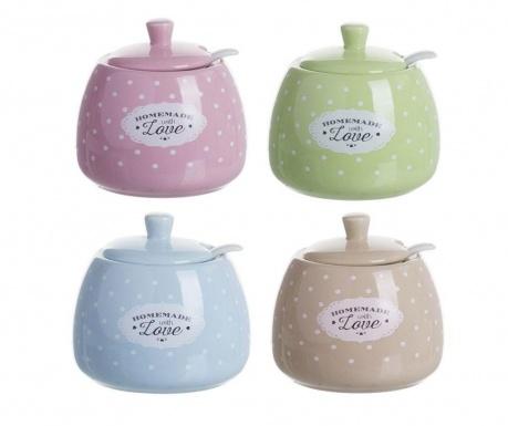 Set 4 zaharnite cu capace si lingurite Homemade Pastel