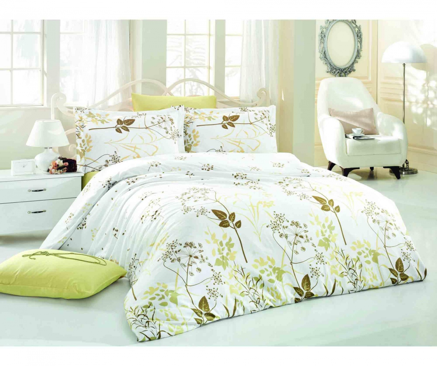 Lenjerie de pat Single Satin Supreme Garden Olive