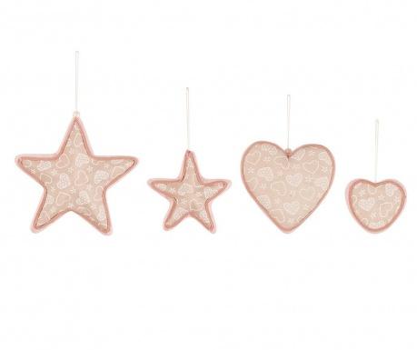 Heart and Star 4 db Felfüggeszthető dekoráció