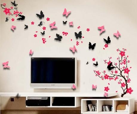 Zestaw naklejka i 20 naklejek 3D Blossom Butterfly