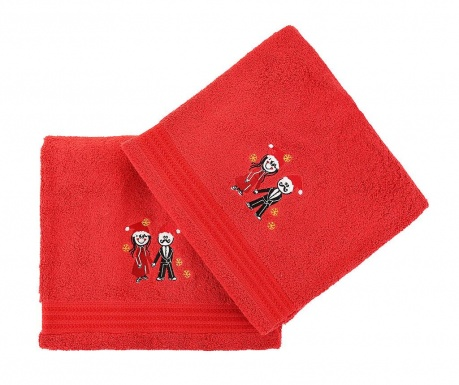 Set 2 kopalniških brisač Christmas Couple Red 70x140 cm
