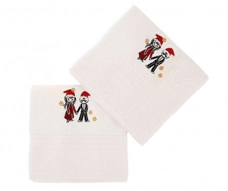 Christmas Couple White 2 db Fürdőszobai törölköző 50x90 cm