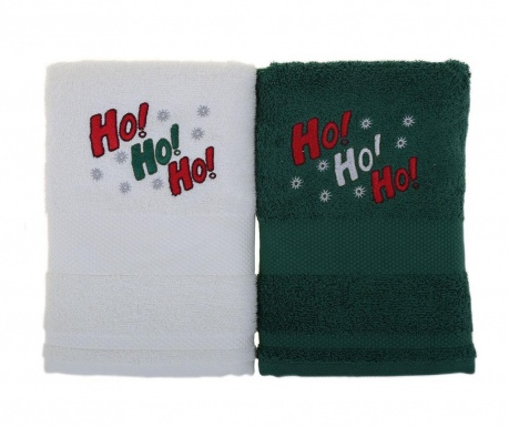 Ho! Ho! Ho! White and Green 2 db Fürdőszobai törölköző 50x100 cm