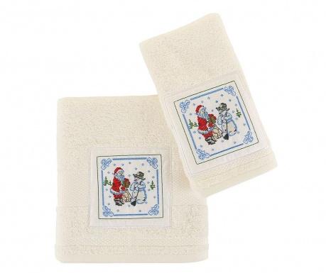 Santa and Snowman White 2 db Fürdőszobai törölköző