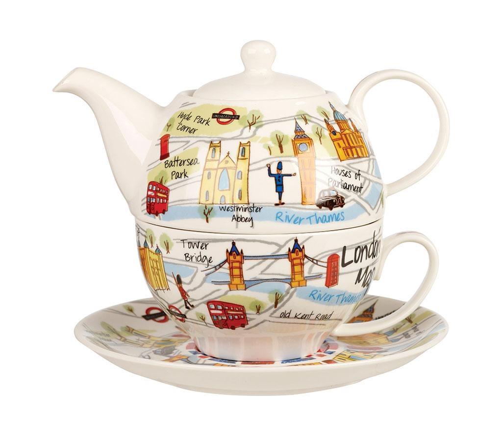 Set čajnik s šalicom i tanjurić London Collection