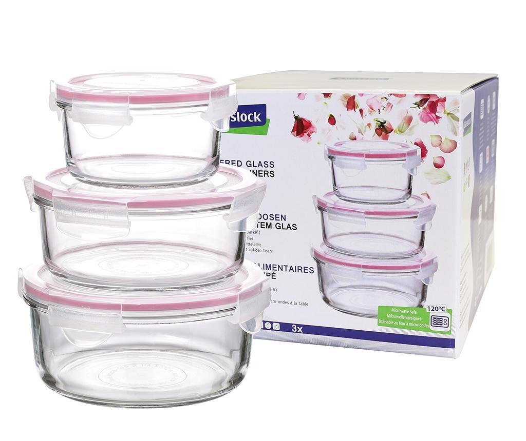 Set 3 zdjele s hermetičkim poklopcem Compact Round Pink