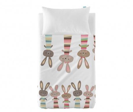 Детски комплект долен чаршаф и калъфка за възглавница Little Rabbits Uni