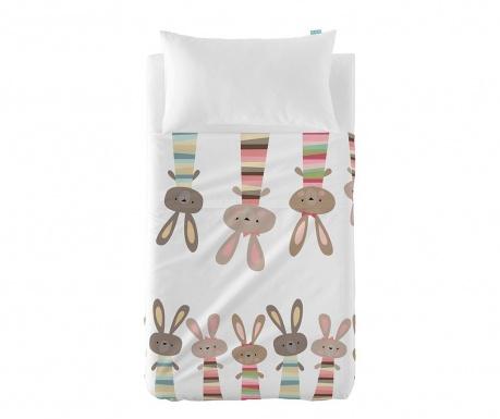 Set cearsaf de patut si fata de perna Little Rabbits Extra Uni
