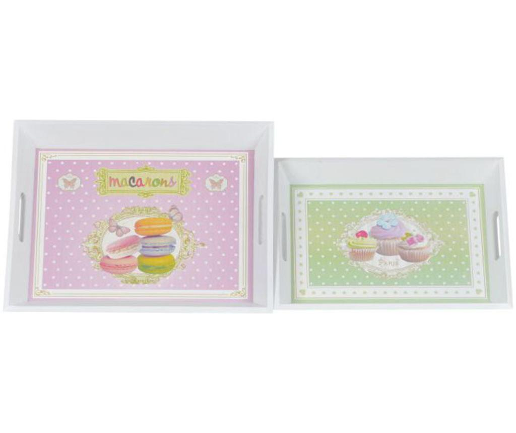Set 2 tavi pentru servire Cupcakes & Macarons - EWAX