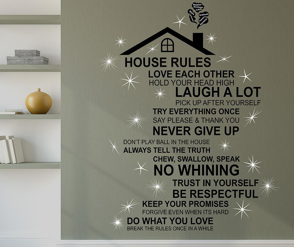 Sticker Rooftop House Rules English - Wallplus, Negru