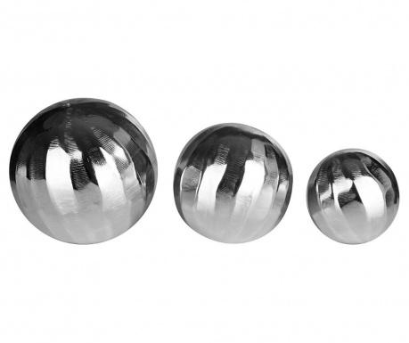 Sada 3 dekorácie Silver Globe
