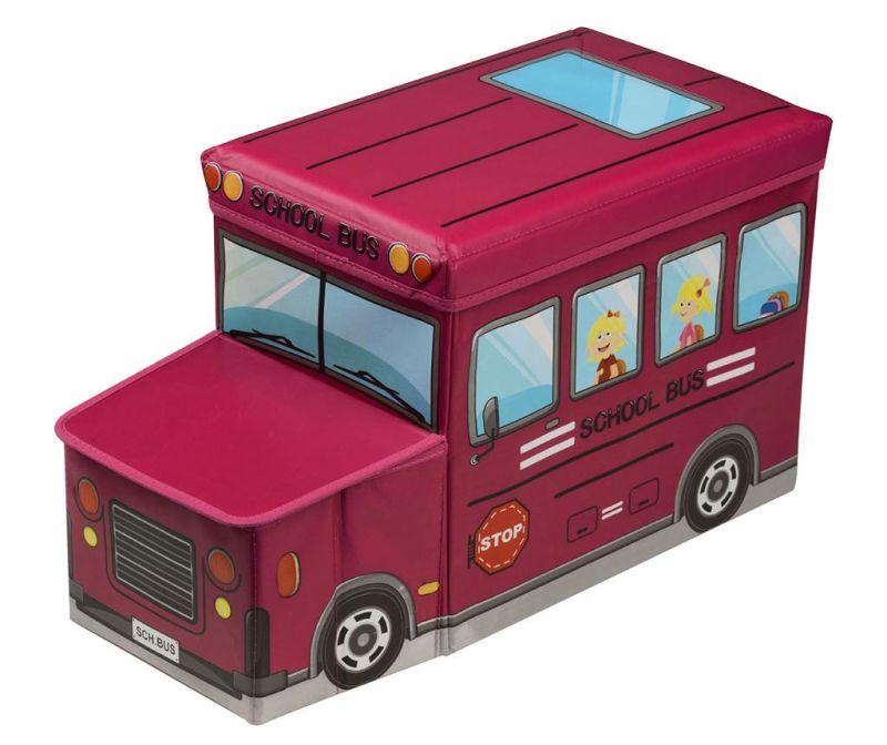 Škatla za shranjevanje igrač s pokrovom Red School Bus