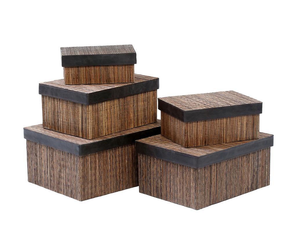 Set 5 cutii cu capac Benton Coconut - Premier, Maro