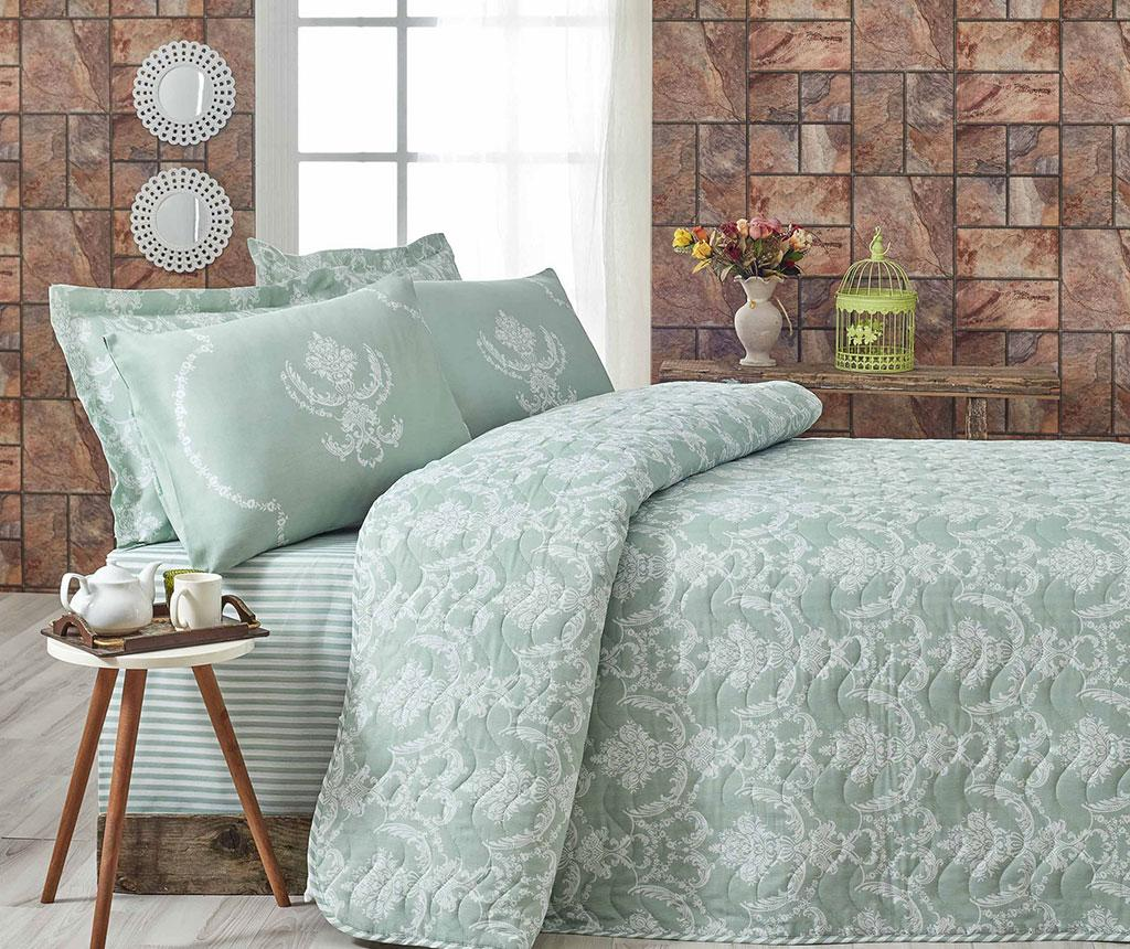Set cuvertura matlasata Double Pure Water Green - Eponj Home, Verde de la Eponj Home