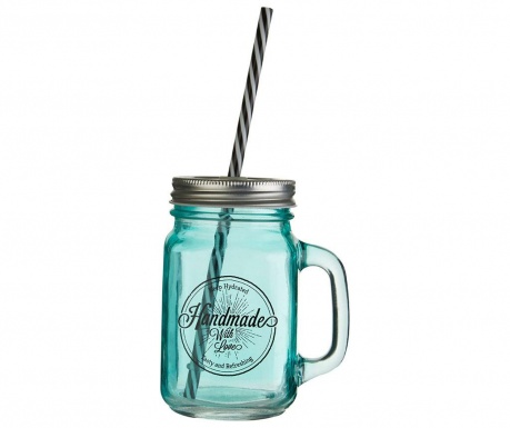 Mug with cover and straw Cocktail Blue 450 ml