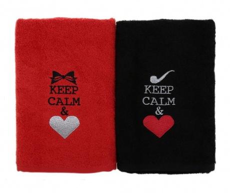 Set 2 kopalniških brisač Keep Calm 50x90 cm